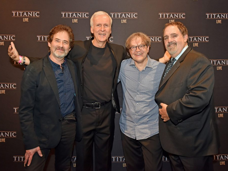 James Horner, James Cameron, Ludwig Wicki and Jon Landau
